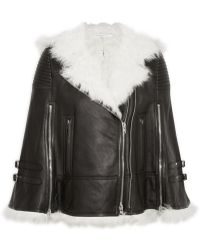 Givenchy - White Shearling-trimmed Cape In Black Leather - Lyst
