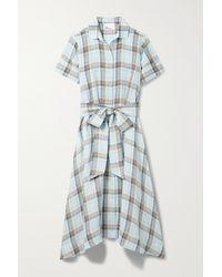 Lisa Marie Fernandez + Net Sustain Checked Linen Midi Shirt Dress - Blue