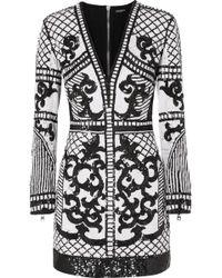 Balmain - Sequined Crepe Mini Dress - Lyst