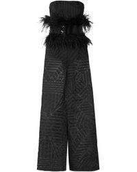 63663514ac48 SemSem - Feather And Sequin-embellished Devoré-organza Jumpsuit - Lyst