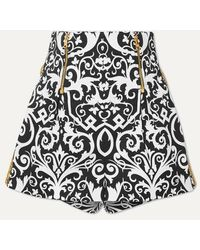 Versace Embroidered Printed Cotton-blend Twill Shorts - Black
