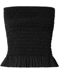 ATM - Shirred Cotton-poplin Bustier Top - Lyst