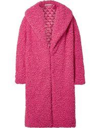 Alice + Olivia Ora Oversized Faux Shearling Coat - Pink