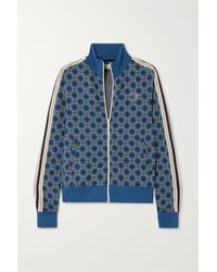 Wales Bonner London Crochet-trimmed Jacquard-knit Cotton Track Jacket - Blue