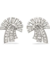 Fred Leighton - 1950s Platinum Diamond Clip Earrings - Lyst