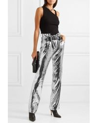 RTA Dillon Belted Sequined Satin Pants - Metallic