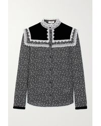 Saint Laurent Lace-trimmed Velvet And Floral-print Wool-twill Blouse - Grey