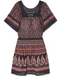 Sea - Aurora Crochet-paneled Printed Cotton-voile Mini Dress - Lyst