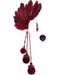 Ranjana Khan Bes Feather, Bead And Velvet Ear Cuff - Red