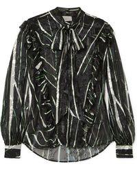 Preen By Thornton Bregazzi - Florrie Ruffled Devoré Silk-blend Chiffon Blouse - Lyst
