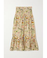 RHODE Artie Shirred Printed Cotton-poplin Midi Skirt - Multicolor