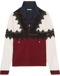Ganni - Lace-trimmed Stretch-jersey Jacket - Lyst