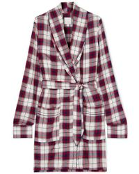 Three J Nyc Checked Flannel Robe - Red