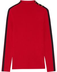 Tory Burch Sardy Striped Ribbed Wool Turtleneck Jumper - Red