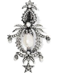 Alexander McQueen Silver-plated, Swarovski Crystal And Pearl Hair Slide - Metallic