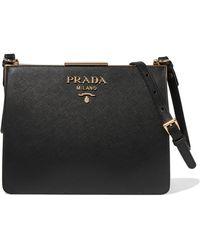 Prada - Frame Textured-leather Shoulder Bag - Lyst