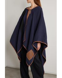 Loewe Cape Aus Einer Mischung Aus Leinen, Baumwolle Und Seide In Knitteroptik Mit Lederbesätzen Und Streifen - Blau