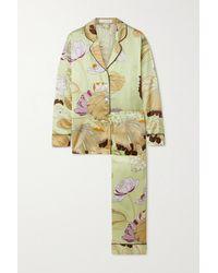 Olivia Von Halle Lila Pyjama Aus Bedrucktem Seidensatin - Grün