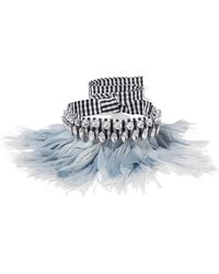Miu Miu - Gingham Cotton, Feather And Crystal Choker - Lyst