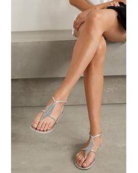 Giuseppe Zanotti Nuv Crystal-embellished Metallic Leather Sandals