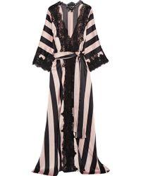 Rosamosario - Amori Imprigionati Lace-trimmed Striped Silk-satin Robe - Lyst 868fe7f67