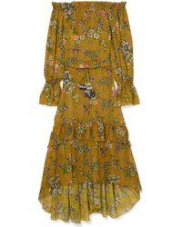 Anjuna - Sofia Off-the-shoulder Printed Metallic Fil Coupé Gauze Dress - Lyst