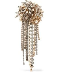 Erickson Beamon - Hunger Gold-plated, Faux Pearl And Crystal Brooch - Lyst