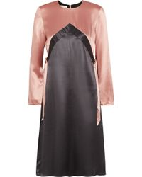 Kéji Two-tone Silk-satin Dress - Gray