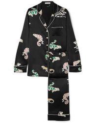Olivia Von Halle Lila Printed Silk-satin Pyjama Set - Black