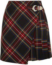 Maje - Wrap-effect Tartan Twill Mini Skirt - Lyst
