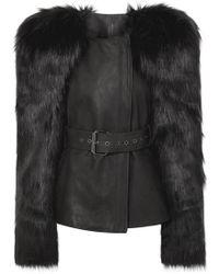 Gareth Pugh - Jacke Aus Faux Fur Und Leder Mit Gürtel - Lyst