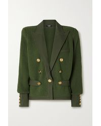 Balmain Double-breasted Ribbed Wool And Cotton-blend Blazer - Green