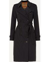 Burberry Trench-coat En Gabardine De Coton The Kensington Long - Bleu