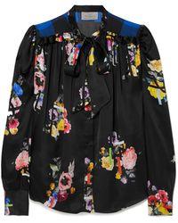 Preen By Thornton Bregazzi - Evan Pussy-bow Floral-print Silk-satin Blouse - Lyst