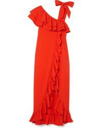 Ganni - Clark Ruffled Stretch-crepe Maxi Dress - Lyst