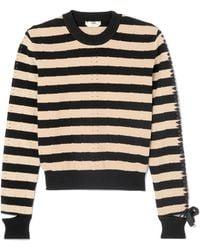 Fendi - Lace-up Striped Pointelle-knit Sweater - Lyst