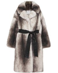 Stand Studio + Pernille Teisbaek Clara Oversized Belted Faux Fur Coat - Gray