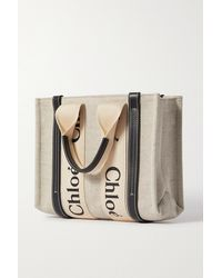 Chloé Woody Small Leather-trimmed Cotton-canvas Tote - White