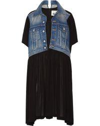 Junya Watanabe - Layered Denim And Crepe Dress - Lyst