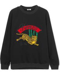 KENZO - Appliquéd Striped Crepe Sweatshirt - Lyst