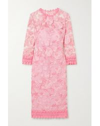 Naeem Khan Crochet-trimmed Embroidered Tulle And Silk Midi Dress - Pink
