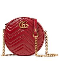 Gucci Gg Marmont Circle Quilted Leather Shoulder Bag - Red