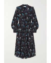 Cefinn - Stella Ruffled Printed Silk Crepe De Chine Midi Dress - Lyst