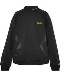 Alexander Wang Printed Embroidered Cotton-terry And Satin-jersey Sweatshirt - Black