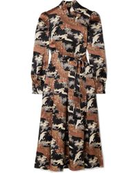 Co. - Belted Printed Silk-satin Midi Dress - Lyst
