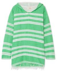 lemlem - + Net Sustain Doro Frayed Striped Cotton-blend Gauze Hoodie - Lyst
