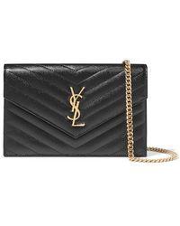Saint Laurent Monogramme Quilted Textured-leather Shoulder Bag - Black