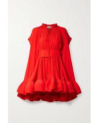 Lanvin Cape-effect Belted Crepe Mini Dress - Red