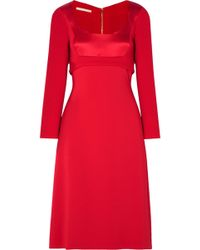 Antonio Berardi - Wool-crepe, Cady And Satin Midi Dress - Lyst
