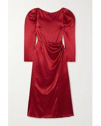 Reformation Cameron Gathered Silk-satin Midi Dress